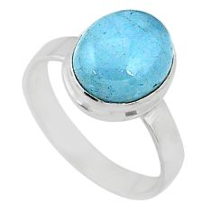 4.80cts natural blue aquamarine 925 silver solitaire ring jewelry size 8 r64646