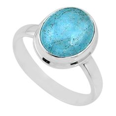 4.69cts natural blue aquamarine 925 silver solitaire ring jewelry size 8 r64656