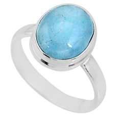 4.71cts natural blue aquamarine 925 silver solitaire ring jewelry size 8 r64661