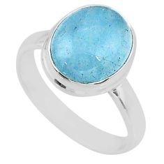 5.06cts natural blue aquamarine 925 silver solitaire ring jewelry size 8 r64674