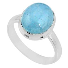 4.82cts natural blue aquamarine 925 silver solitaire ring jewelry size 8 r64679