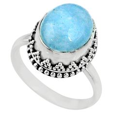 5.08cts natural blue aquamarine 925 silver solitaire ring jewelry size 8 r64683