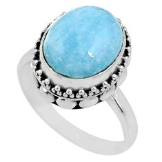 5.10cts natural blue aquamarine 925 silver solitaire ring jewelry size 8 r64691