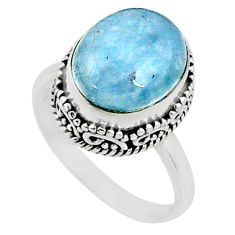 5.07cts natural blue aquamarine 925 silver solitaire ring jewelry size 8 r64693