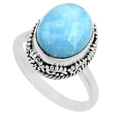 5.09cts natural blue aquamarine 925 silver solitaire ring jewelry size 8 r64697