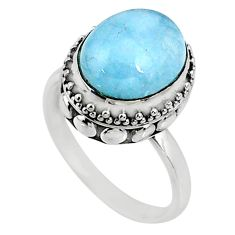 5.07cts natural blue aquamarine 925 silver solitaire ring jewelry size 8 r64708