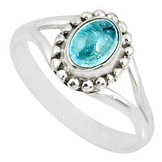 1.41cts natural blue aquamarine 925 silver solitaire handmade ring size 8 r82171