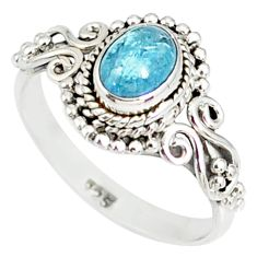 1.51cts natural blue aquamarine 925 silver solitaire handmade ring size 8 r82282