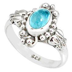 1.53cts natural blue aquamarine 925 silver solitaire handmade ring size 8 r82285
