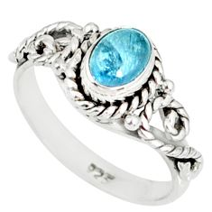 1.55cts natural blue aquamarine 925 silver solitaire handmade ring size 8 r82287