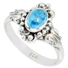 1.50cts natural blue aquamarine 925 silver solitaire ring jewelry size 8 r82358