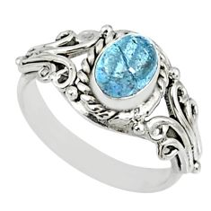 1.45cts natural blue aquamarine 925 silver solitaire ring jewelry size 8 r82487