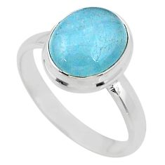 5.21cts natural blue aquamarine 925 silver solitaire ring jewelry size 9 r64622