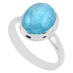 5.03cts natural blue aquamarine 925 silver solitaire ring jewelry size 9 r64623
