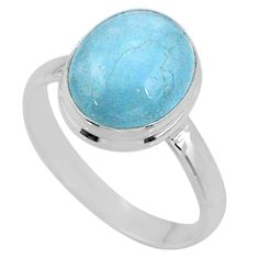 5.10cts natural blue aquamarine 925 silver solitaire ring jewelry size 9 r64634