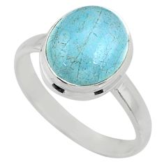 5.06cts natural blue aquamarine 925 silver solitaire ring jewelry size 9 r64639