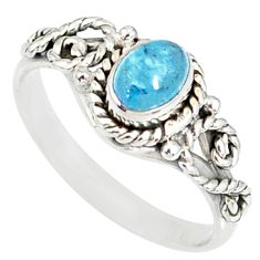 1.43cts natural blue aquamarine 925 silver solitaire handmade ring size 9 r82296