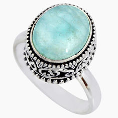 5.01cts natural blue aquamarine 925 silver solitaire ring size 8.5 r26214