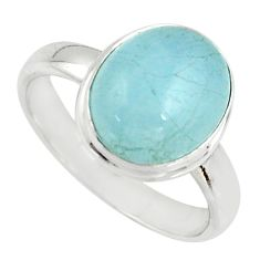 4.93cts natural blue aquamarine 925 silver solitaire ring size 7.5 r39748