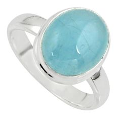 5.14cts natural blue aquamarine 925 silver solitaire ring size 7.5 r39752