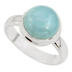 5.73cts natural blue aquamarine 925 silver solitaire ring size 6.5 r39783