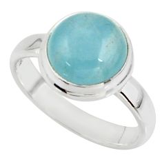 5.23cts natural blue aquamarine 925 silver solitaire ring size 7.5 r39788