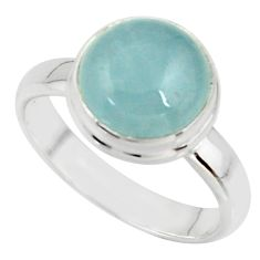 5.06cts natural blue aquamarine 925 silver solitaire ring size 6.5 r39790