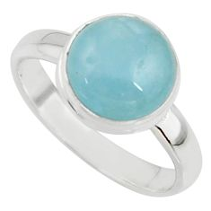 4.80cts natural blue aquamarine 925 silver solitaire ring size 8.5 r39794
