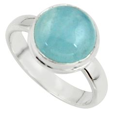 5.06cts natural blue aquamarine 925 silver solitaire ring size 6.5 r39795