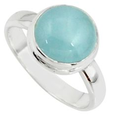 5.14cts natural blue aquamarine 925 silver solitaire ring size 7.5 r39796