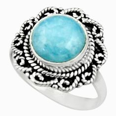 5.26cts natural blue aquamarine 925 silver solitaire ring size 8.5 r52630