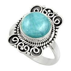 5.36cts natural blue aquamarine 925 silver solitaire ring size 7.5 r52635