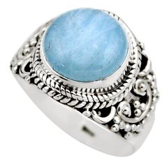 5.38cts natural blue aquamarine 925 silver solitaire ring size 6.5 r53365
