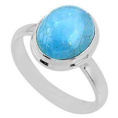 5.03cts natural blue aquamarine 925 silver solitaire ring size 8.5 r64628