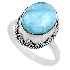 4.92cts natural blue aquamarine 925 silver solitaire ring size 7.5 r64684