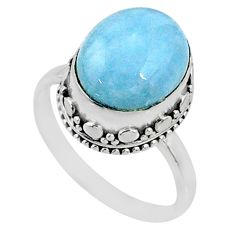 5.13cts natural blue aquamarine 925 silver solitaire ring size 7.5 r64690