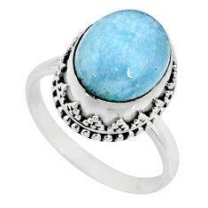 5.27cts natural blue aquamarine 925 silver solitaire ring size 7.5 r64700