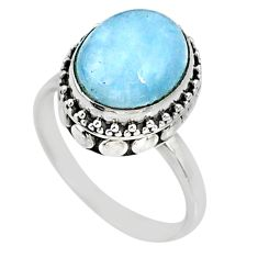 5.08cts natural blue aquamarine 925 silver solitaire ring size 8.5 r64701