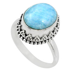 4.94cts natural blue aquamarine 925 silver solitaire ring size 8.5 r64702
