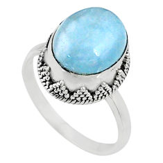 5.10cts natural blue aquamarine 925 silver solitaire ring size 8.5 r64704