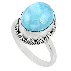 5.28cts natural blue aquamarine 925 silver solitaire ring size 8.5 r64711