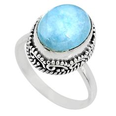 5.06cts natural blue aquamarine 925 silver solitaire ring size 7.5 r64714