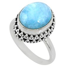 5.06cts natural blue aquamarine 925 silver solitaire ring size 7.5 r64716
