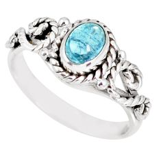 1.57cts natural blue aquamarine 925 silver solitaire ring size 7.5 r82353