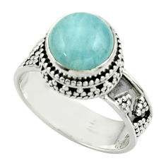 5.07cts natural blue aquamarine 925 sterling silver ring jewelry size 8.5 r44202