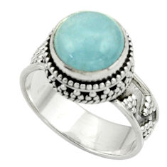 5.61cts natural blue aquamarine 925 sterling silver ring jewelry size 7.5 r44203