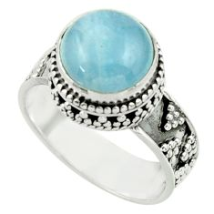 5.38cts natural blue aquamarine 925 sterling silver ring jewelry size 8.5 r44215