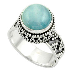 5.76cts natural blue aquamarine 925 sterling silver ring jewelry size 7.5 r44217