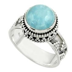 5.71cts natural blue aquamarine 925 sterling silver ring jewelry size 8.5 r44220