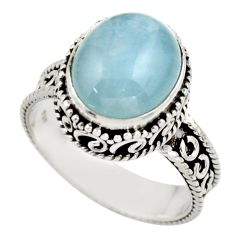 5.17cts natural blue aquamarine 925 sterling silver ring jewelry size 8.5 r44225